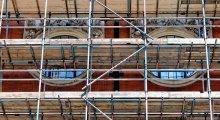 Photo of scaffolding alongside a building