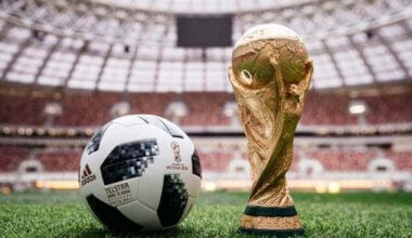 A photo of the World Cup next to a football on the grass inside a stadium
