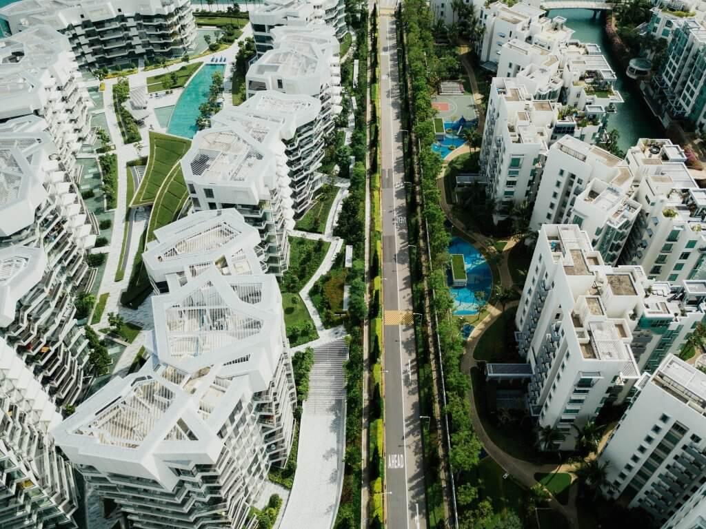 Aerial view of apartment blocks